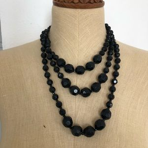 Layered Black Beaded Necklace